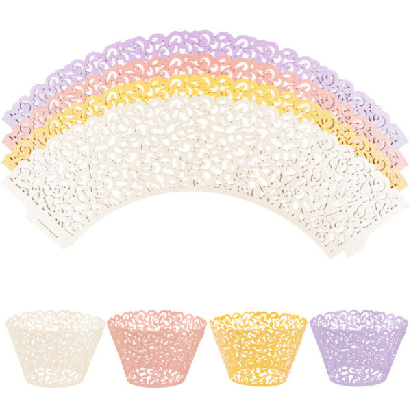 50 100 200 Cupcake Liners Muffin Case Wrapper Cake Lace Paper Baking Cups Party