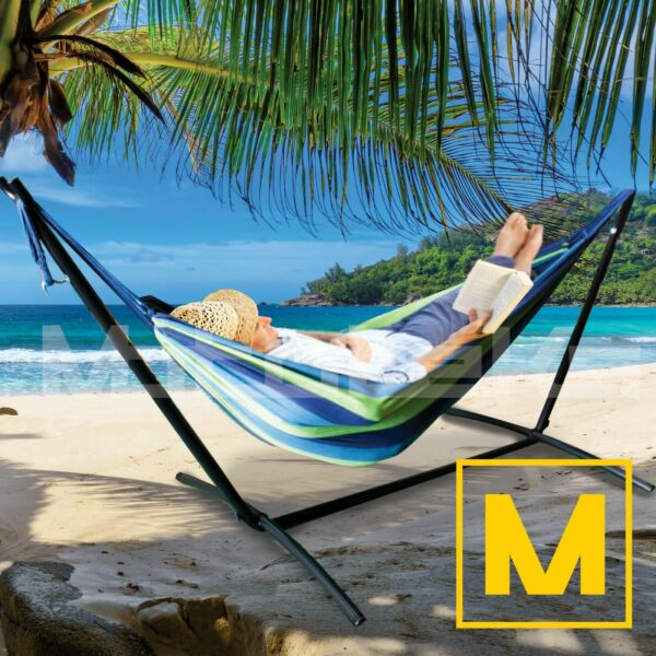 Hammock with Steel Stand Portable Double Swing Bed with Carry Case for Outdoor $55.99