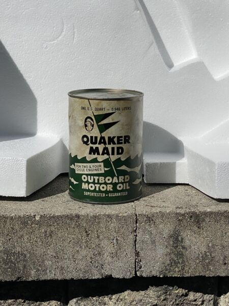 Vintage Quaker Maid Outboard Motor Oil Quart Can