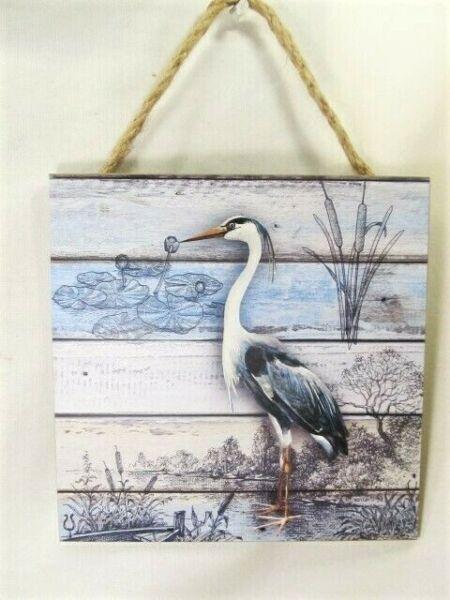 Egret Shore Bird sign with rope left facing nautical decor  $15.95