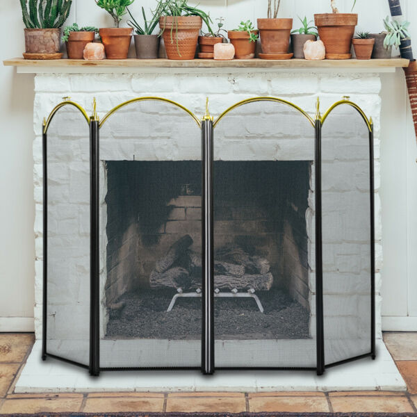 VIVOHOME 4 Panel Folding Fireplace Screen Guard Fireplace Iron Fence Shield Door