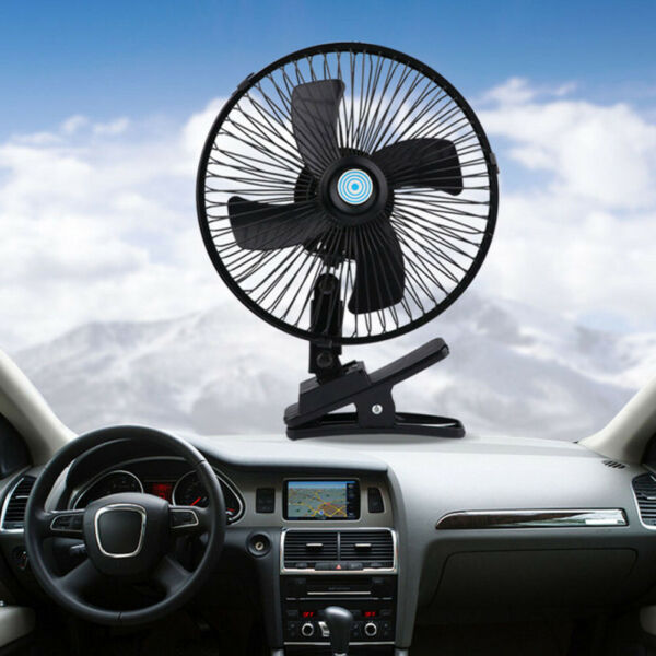 10'' inch 12V Dashboard Oscillating Vehicle Car Van Truck Home Desk Clip-On Fan