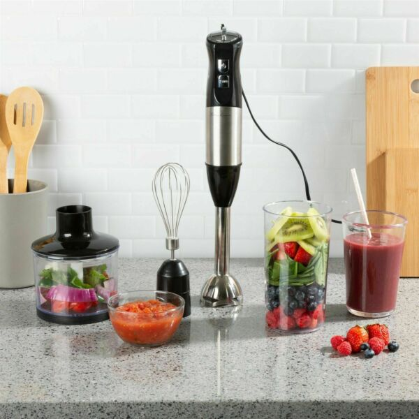 Immersion Blender 6 Speed Food Processor Cup Mixer Whisk 4 in 1 Appliance $32.99