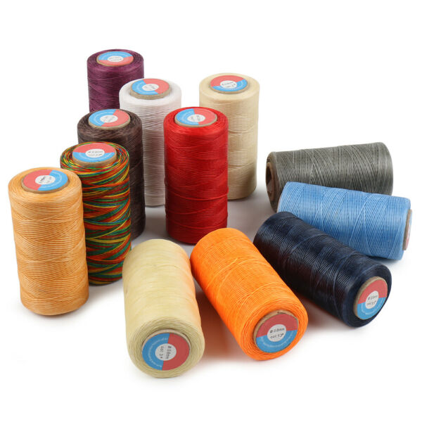 Waxed Thread 0.8mm 284Yard Flat Polyester Cord F Sewing Stitching Leather Craft