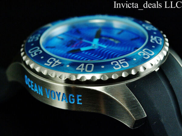 Invicta Men's 50mm OCEAN VOYAGE Limited Edition Blue Wave Dial Silver Tone Watch $59.99