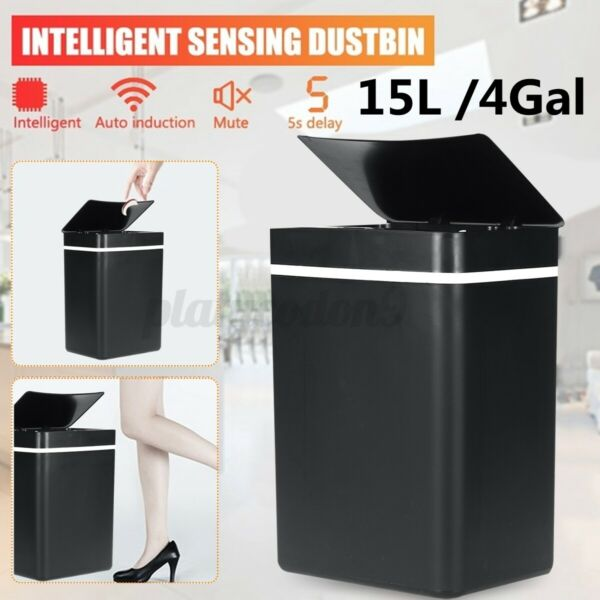 15L Touch-Free Trash Can Automatic Infrared Motion Sensor Touchless Waste Bin $31.59