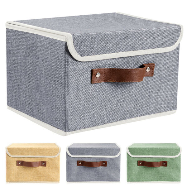 2 6 12Pc Linen Fabric Cube Storage Bins Boxes Foldable Home Organizer Baskets