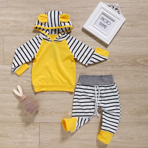 Newborn Baby Boy Girls Striped Hooded Outfits Set Clothes Tops Pants Tracksuit