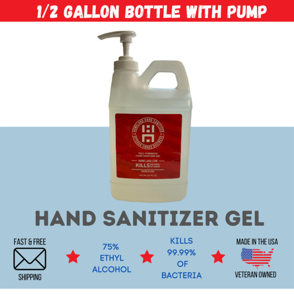 [64OZ] Half Gallon Gel Hand Sanitizer With Pump   75% Alcohol  Made in USA