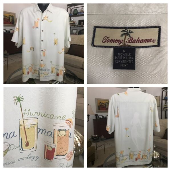 Tommy Bahama Hurricane Tommy Mens Large 100% Silk Front Button Hula Girl Drinks $19.00