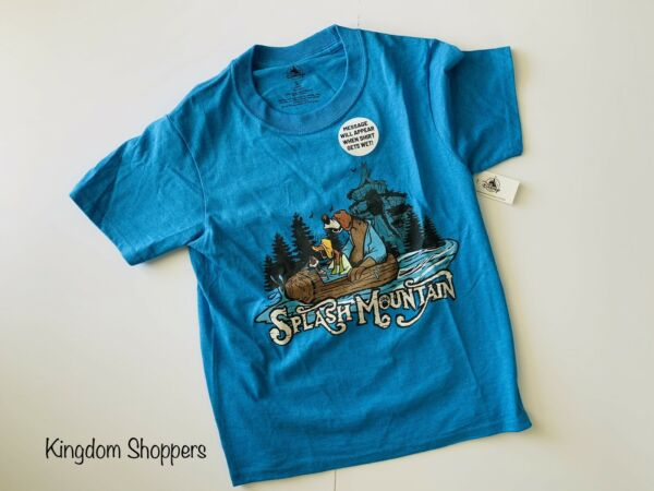 Disney Parks Splash Mountain Kids Shirt Youth Small Blue Message Appear When Wet $39.95