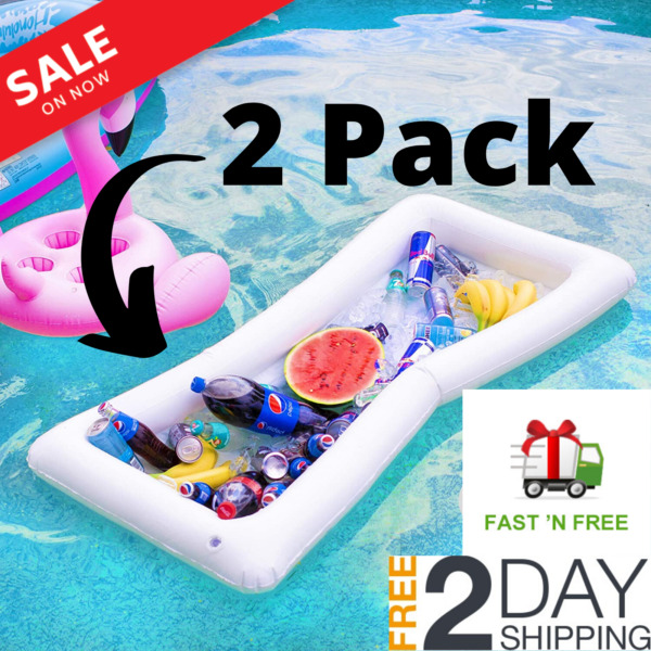 Swimming Pool Floating Cooler - 2 Pack Inflatable Buffet Bar - Drink Float Table $14.95