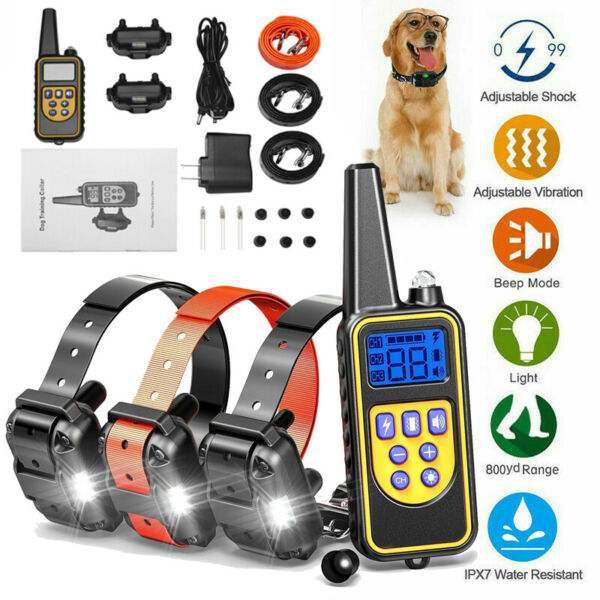 Dog Shock Collar With Remote Waterproof Electric For Large 880 Yard Pet Training $27.99