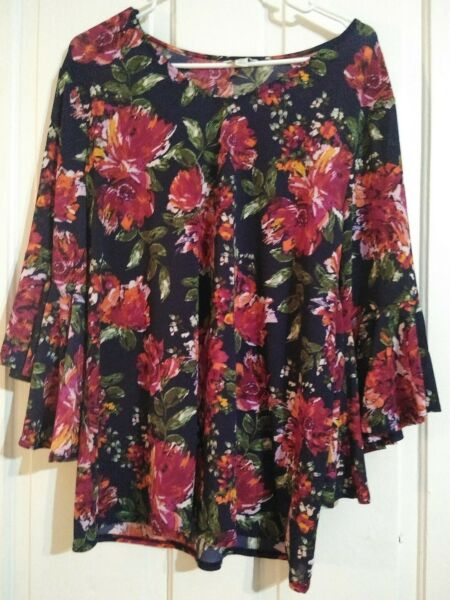 unbranded floral medium polyester 3 4 the sleeve blouse