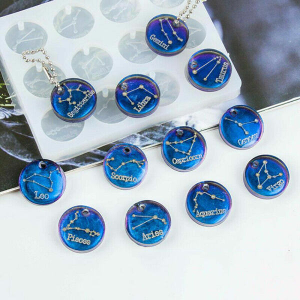 12 Constellations Discs Pendant Silicone Resin Mold DIY Jewelry Making Craft $7.99