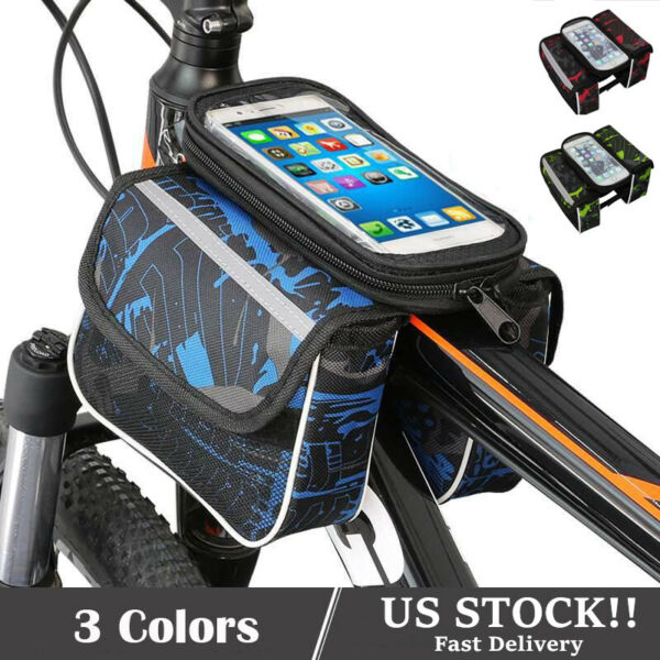 Bike Bicycle Bags Front Frame MTB Cycling Waterproof Touch Screen Tube Phone Bag $12.99
