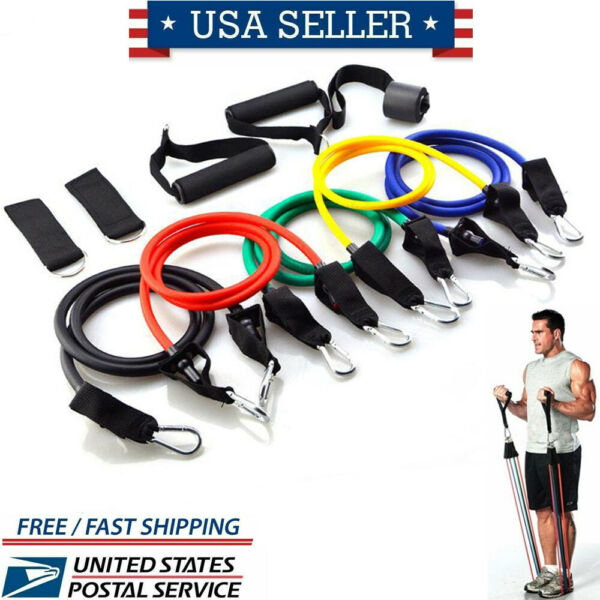 Home workout Resistance Bands Set Yoga Gym Exercise Equipments Training Fitness