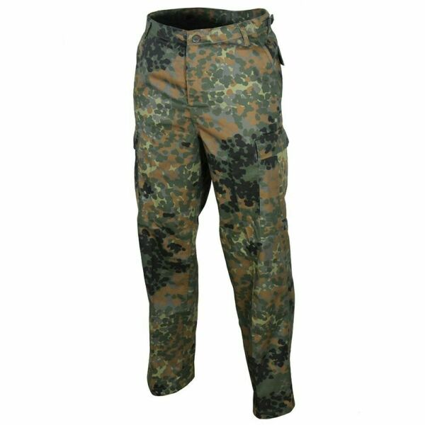 GERMAN FLECKTARN CAMOUFLAGE PANTS MILITARY BDU CARGO 6 POCKET FATIGUE TROUSERS