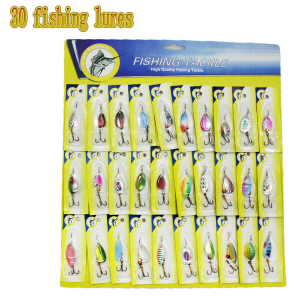 Lot of 30 Trout Spoon Metal Fishing Lures Spinner Baits Bass Tackle Colorful NEW $15.99