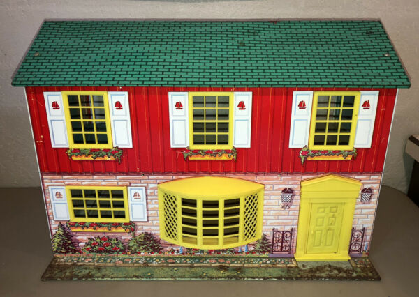 Vtg 60s Two Story DOLL HOUSE Wolverine Toy w Accessories + Tweakie Toy Tin Litho