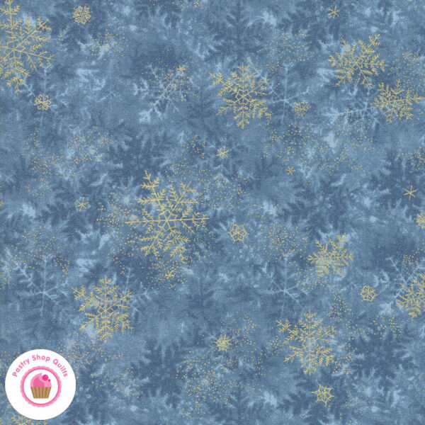 Moda FOREST FROST GLITTER 33523 14MG Blue Gold Metallic Snowflake Quilt Fabric