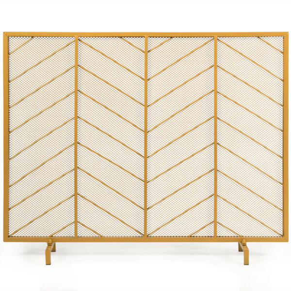 39quot;x31quot; Single Panel Fireplace Screen Spark Guard Fence Chevron Gold Finish