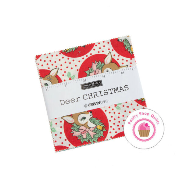 Moda DEER CHRISTMAS Urban Chicks CHARM PACK 42 5quot; squares QUILT FABRIC Reindeer