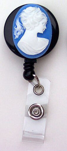 Blue White Oval CAMEO Retractable Reel ID Card Badge Holder Key Chain Security