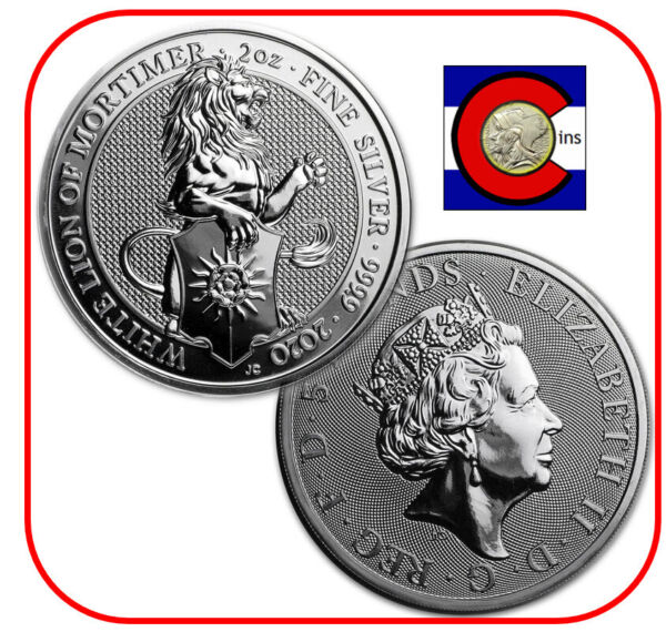 2020 Queen#x27;s Beast White Lion of Mortimer 2 oz Silver Coin in direct fit capsule $99.95
