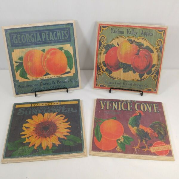 Vintage Produce Art Label Crate Wood Wall Plaques Set of 4 Fruit Farmhouse