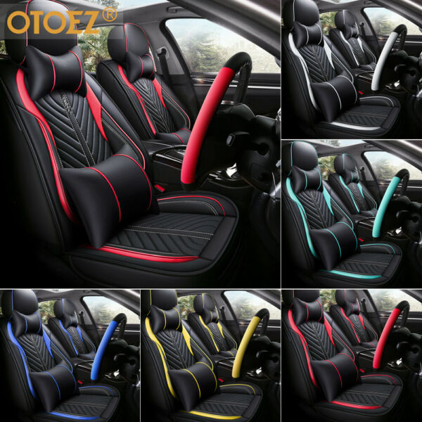 Universal Deluxe PU Leather 5-Seats Car Seat Cover Front Rear Cushion Full Set $86.89