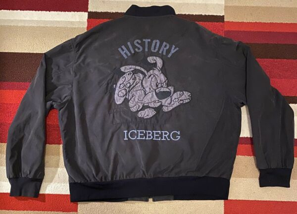 Iceberg History Men#x27;s Vintage Woof Dog Jacket Bomber 1999 SZ 48 Medium Charcoal $150.00