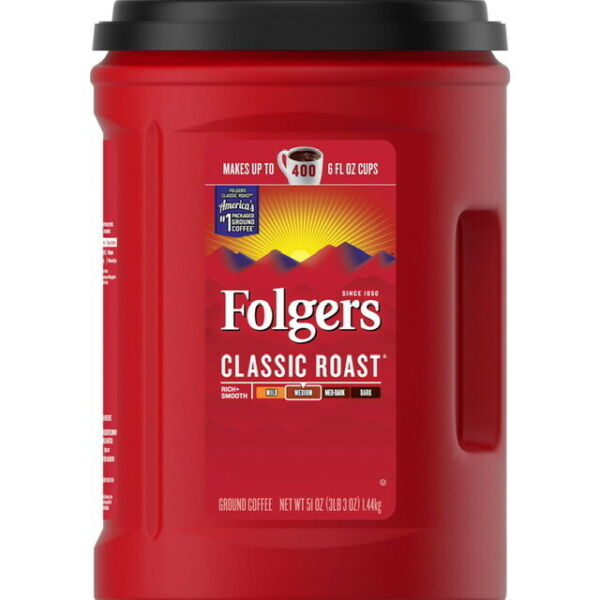 Folgers Classic Roast Ground Coffee. 51 OZ High Quality. BEST DEAL