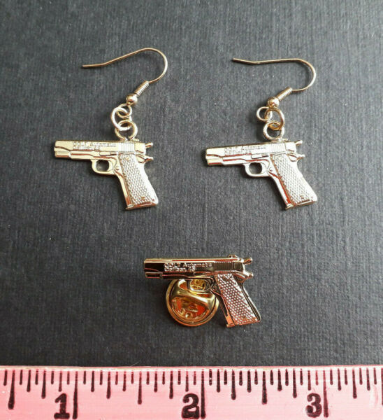 Vintage Colt .45 Automatic pin & matching gp earrings with new French Wires $5.95