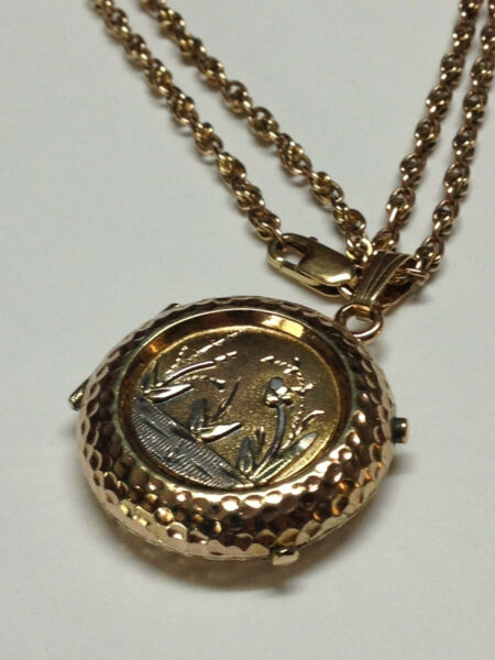 ANTIQUE VICTORIAN ORNATE 14K GOLD LOCKET PENDANT NECKLACE 14K CHAIN