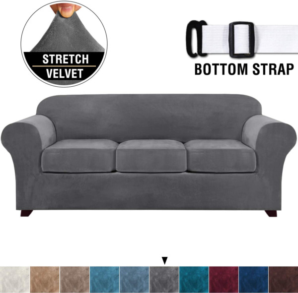 4 Pieces Sofa Covers Stretch Velvet Couch Covers for 3 Cushion Sofa Slipcovers 2 $49.20
