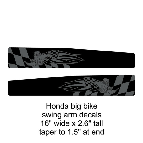 Honda 16quot; big bike swing arm decals woody gray black FREE SHIPPING $30.00