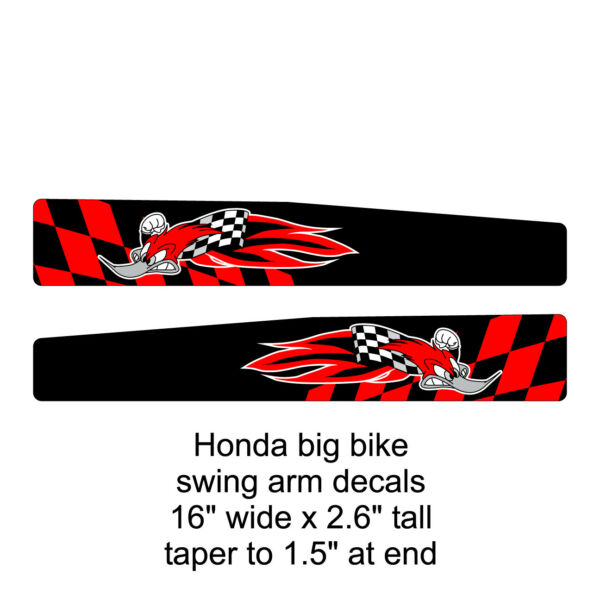Honda 16quot; big bike swing arm decals woody red black FREE SHIPPING $30.00