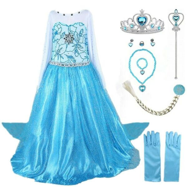 2018 Elsa Costume Princess Party Girls Costume Dress with Accessories Set 2 10Y $22.98