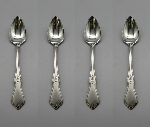 Oneida Stainless Flatware Morning Blossom Serrated Fruit Spoons Set of Four