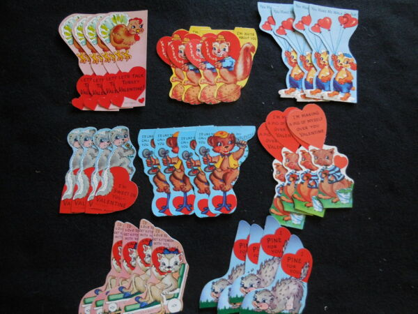 Lot vintage 32 die cut valentines 8 different styles
