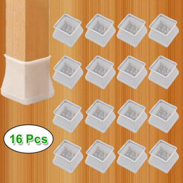 16pcs Silicone Table Chair Leg Protection Cover Furniture Feet Pad Cap Protector $6.99