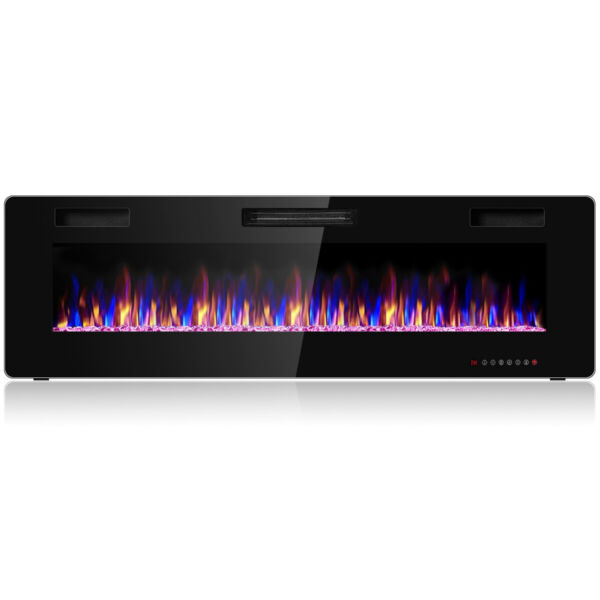 60quot; Electric Fireplace Recessed Ultra Thin Wall Mounted Heater Multicolor Flame