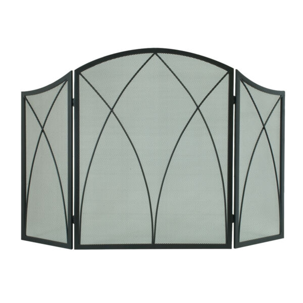 Pleasant Hearth 959 Black Arched 3 Panel Fireplace Screen