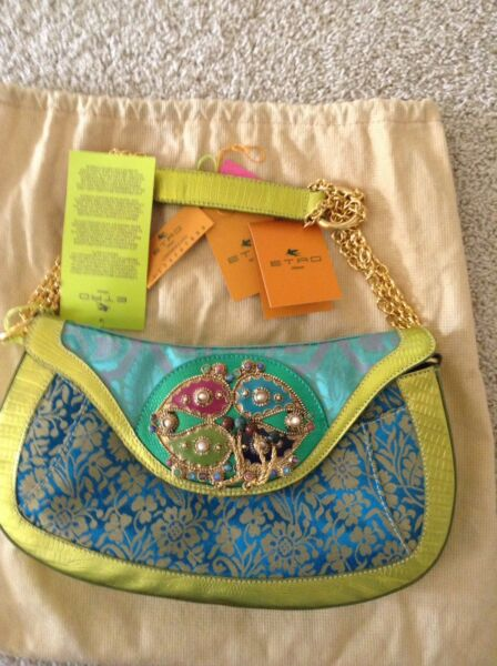 NWT Authentic Etro bag in turquoise brocade and Lime Leather trim $179.00