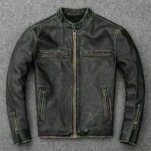 Men's Motorcycle Biker Vintage Distressed Black Faded Real Cow Leather Jacket