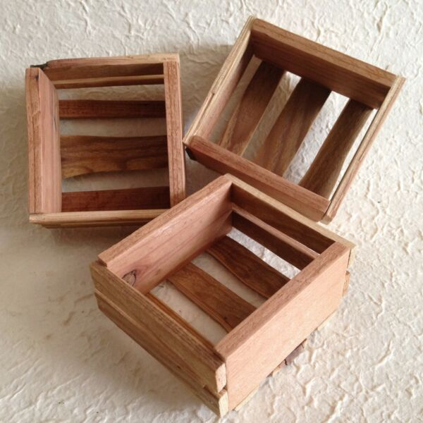 Mini Wooden Crates Set of 3 Handmade Rustic for Display Craft...