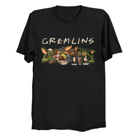 Gremlins Horror Pet in the style of Friends Show Black T Shirt Billy Peltzer $19.79