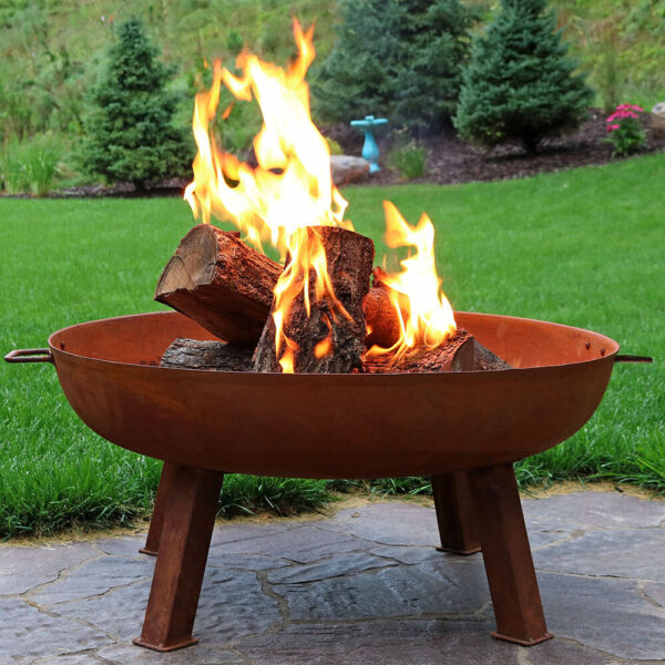 Sunnydaze 34quot; Fire Pit Cast Iron with Rustic Finish Wood Burning Fire Bowl