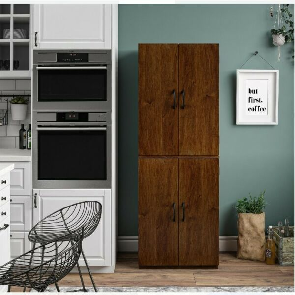 60quot; Tall Storage Cabinet Kitchen Pantry Cupboard Organizer Furniture Home Brown